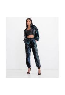 Blusa Cropped Decote V Lisa Com Recortes E Zíper Tratorado | Just Be | Preto | M