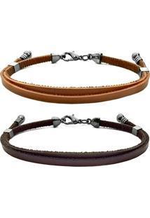 2 Bracelete Gafeno Acessórios Marrom - Kanui