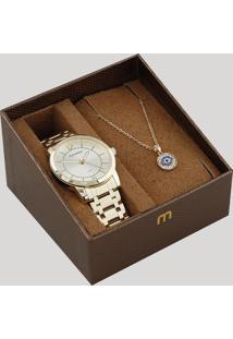 Kit De Relógio Analógico Mondaine Feminino + Colar - 99126Lpmvde1K1 Dourado - Único