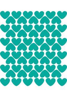 Adesivo De Parede Infantil Corações Azul Turquesa 55Un.