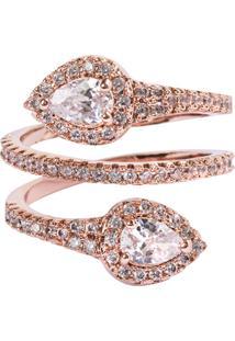 Anel Snake The Ring Boutique Cravejado De Zircônias Em Ouro Rosé