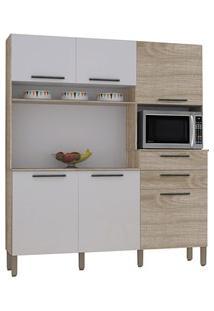 Cozinha Compacta Montesa 6 Portas Nogal/White - Kit'S Paraná