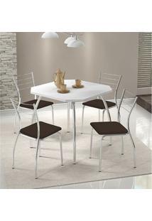 Conjunto Mesa 1504 Branca Cromada Com 4 Cadeiras 1700 Cacau Carraro