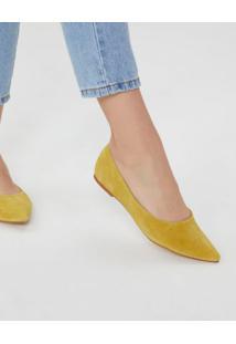 Amaro Feminino Sapatilha De Couro Porco, Amarelo