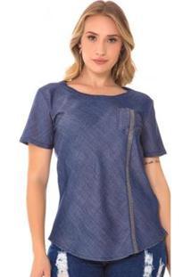 Blusa Jeans Express Andria Feminina - Feminino-Azul
