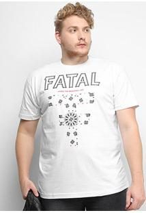 Camiseta Fatal Beautiful Life Plus Size Masculina - Masculino-Branco