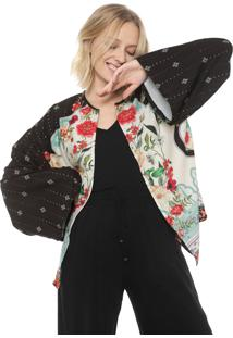 Cardigan Mercatto Estampado Preto
