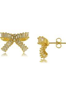 Brinco De Laço Com Zircônias Cravejadas 3Rs Semijoias Dourado - Kanui