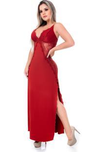 Camisola Longa Cherry Moda ÍNtima Sibil Terra - Vermelho - Feminino - Dafiti