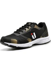 Tênis Ousy Shoes Fitness Easy 2019 Dourado Preto