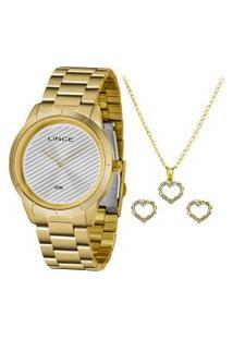 Kit De Relógio Analógico Lince Feminino + Brinco + Colar - Lrg625L Kk12S1Kx Dourado
