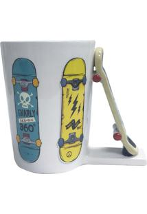 Caneca Fun Skate- Branca & Amarela- 350Ml- Full Full Fit