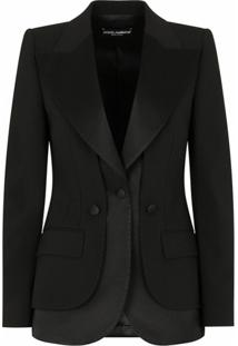 Dolce & Gabbana Blazer Com Acabamento De Cetim - Preto
