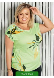 Blusa Plus Size Com Estampa Floral Verde