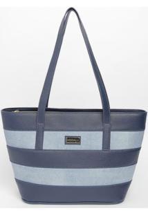 Bolsa Listrada Texturizada - Azul & Azul Marinho - 2Modalli Bolsas