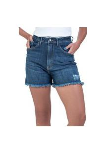 Bermuda Jeans Bloom Hot Pants Com Lycra Azul