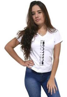 Camiseta Gola V Cellos Vertical Ii Premium Feminina - Feminino-Branco