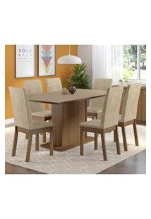 Conjunto Sala De Jantar Madesa Madri Plus Mesa Tampo De Madeira Com 6 Cadeiras Marrom