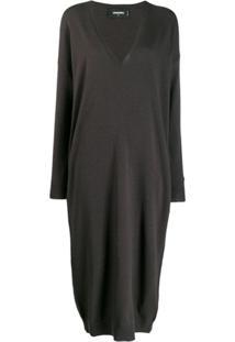 Dsquared2 Deep V-Neck Sweater Dress - Cinza
