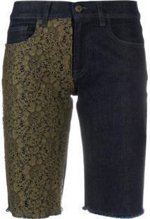Mr & Mrs Italy Short Jeans Com Aplicação De Renda - Azul