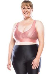 Top Fitness Plus Size Plus Color Feminino - Feminino-Rosa