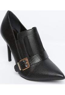 Ankle Boot Em Couro Com Fivela - Preta - Salto: 9,5Cjorge Bischoff