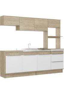 Cozinha Compacta 7 Portas 3 Gavetas C/ Rodapé Slim Decibal Moveis Acácia Branco