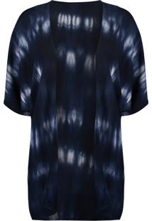 Kimono Água De Sal Estampada Azul Marinho
