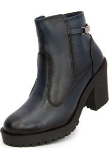 Bota Ankle Boot Salto Mã©Dio Sapatofranca Sem Cadarã§O Azul Escuro - Azul - Feminino - Dafiti