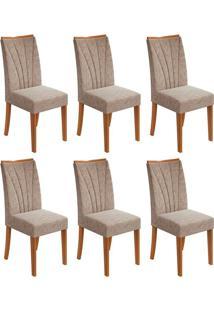 Conjunto Com 6 Cadeiras Apogeu Ll Rovere E Bege