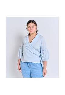 Blusa Transpassada Em Tricoline Com Amarração Curve & Plus Size