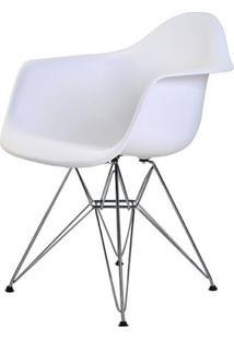 Cadeira Eames Eiffel Com Braco Polipropileno Cor Branco Base Cromada - 44921 Sun House