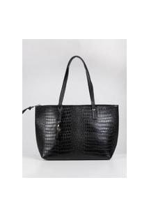 Bolsa Shopping Bag Croco Feminina Preto