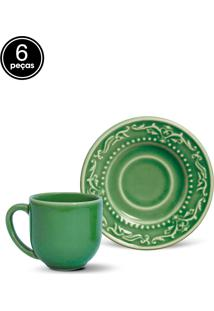 Conjunto 6Pçs Xícaras De Café Porto Brasil Acanthus Verde
