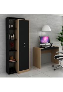 Escrivaninha E Estante Para Escritório-Ho-2954-Hecol - Avela / Onix