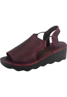 Sandália S2 Shoes Anabela Couro Vinho