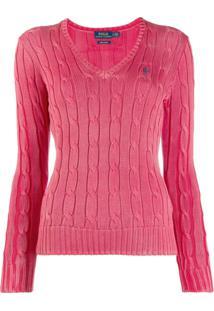 Polo Ralph Lauren Suéter Com Logo Bordado - Rosa