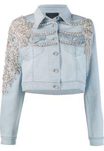 Philipp Plein Jaqueta Jeans Com Aplicação De Cristal - Azul