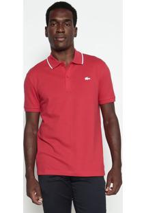 Polo Slim Fit Em Piquê- Vermelha & Brancalacoste