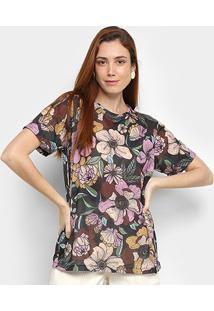 Camiseta Cantão Floral Feminina - Feminino