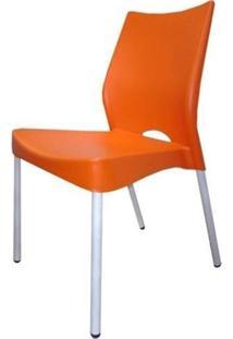 Cadeira Malba Base Fixa Pintada Cinza Cor Laranja - 10311 - Sun House