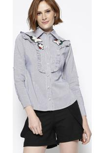 Camisa Listrada Com Bordado- Preta & Branca- Estilo Estilo H