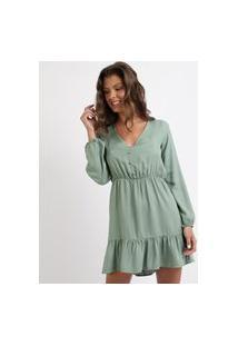 Vestido Feminino Curto Com Babados Manga Longa Decote V Verde
