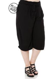 Calça Cambos Pantacourt Plus Size Feminina - Feminino-Preto