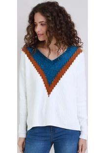 Suéter De Tricô Chenille Feminino Geométrico Decote V Off White