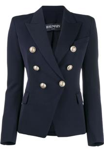 Balmain Double Breasted Blazer - Azul