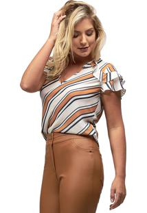 Blusa Crepe Mx Fashion Gretta Listrada Caramelo