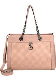 Bolsa Handbag Selten Alça Transversal Removível Casual Feminina - Feminino-Rosa