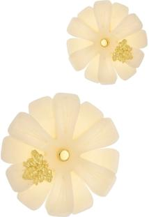 Brinco Le Diamond Flor Grande Com Abelha Madre Pã©Rola - Off-White - Feminino - Dafiti