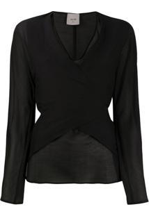 Alysi Wrap-Style Front Tie Back Blouse - Preto